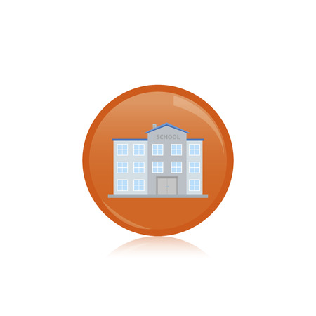 residential building: an isolated orange label with a colored residential building