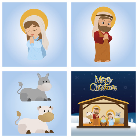 saint mary: abstract saint mary, Joseph, dunkeys and a complete manger