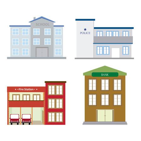 edificio escuela: abstractos edificios aislados sobre un fondo blanco