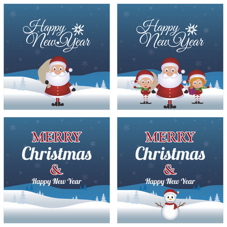 a set of blue landscapes with text, christmas characters and snow for winter holidays
