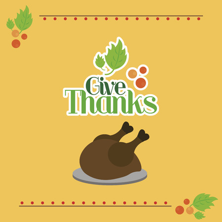 roasted turkey: a colored background with text and a roasted turkey for thanksgiving day Illustration