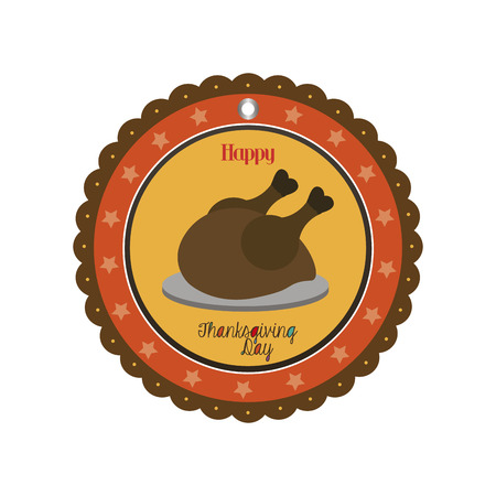roasted turkey: an isolated label with a roasted turkey for thanksgiving day