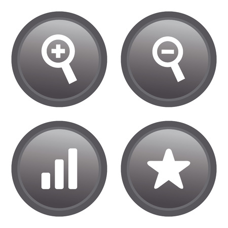 cross bar: a set of grey labels with web icons Illustration
