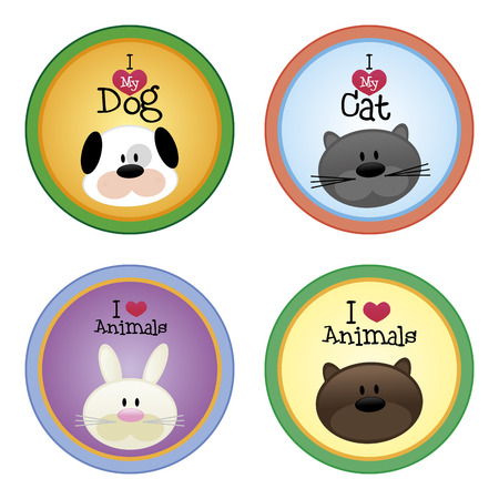 happy face: a set of colored labels with text and pretty animals Illustration