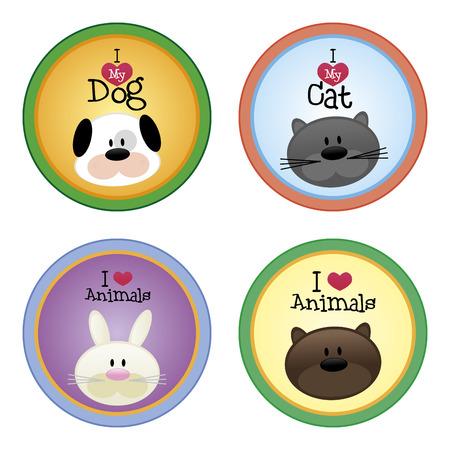 carita feliz: un conjunto de etiquetas de colores con el texto y bonitos animales