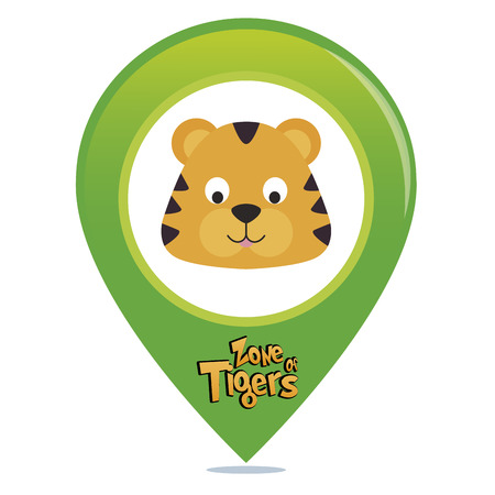 an isolated colored pin with text and an animal Vector