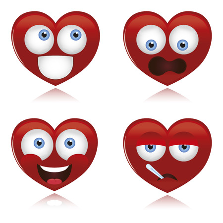 pretty eyes: a set of hearts with different facial expressions on a white background