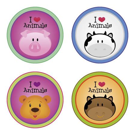 cara feliz: un conjunto de etiquetas de colores con el texto y bonitos animales