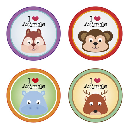 a set of colored labels with text and pretty animals Vector