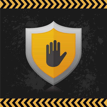 stop hand silhouette: an isolated heraldry shield with an icon on a grunge background Illustration