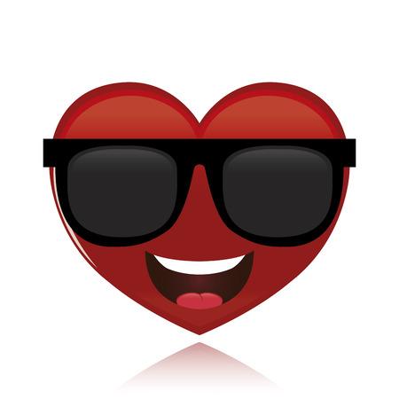 een geïsoleerd gelukkig hart op een witte achtergrond