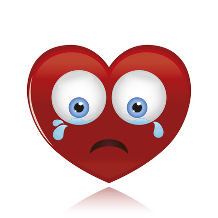 an isolated sad heart on a white background Vector