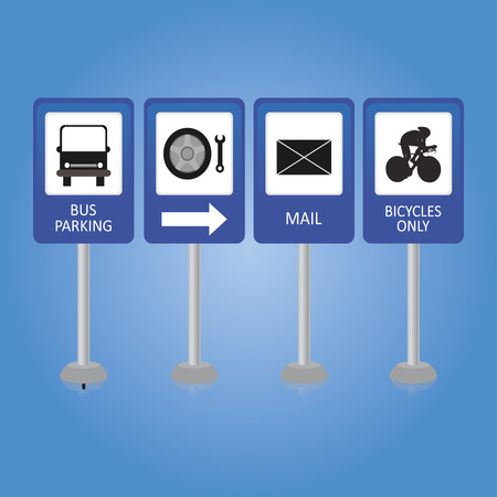 signals: a set of blue traffic signals on a blue background