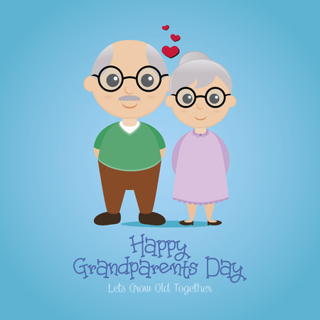 greeting people: a colored background with a pair of grandparents and text