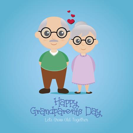 personas saludandose: un fondo de color con un par de abuelos y texto