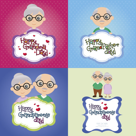 colored backgrounds: a set of colored backgrounds with grandparents and text