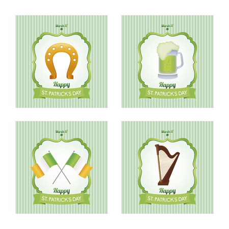a set of colored backgrounds with text and traditional elements for patricks day Vector