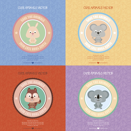 Set of backgrounds with isolated labels and a cute animals. Vector illustration Vector