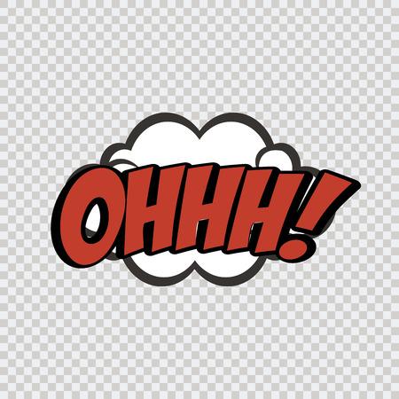 onomatopoeia: isolated comic speech bubble on a textured background. Vector illustration Illustration
