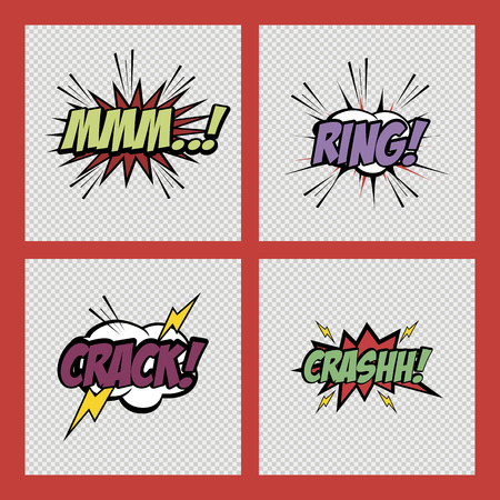 textured backgrounds: set of comic speech bubbles on textured backgrounds. Vector illustration