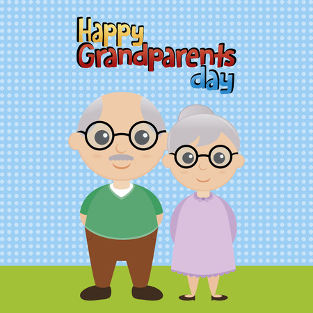 grandparents: a colored background with a pair of grandparents and text