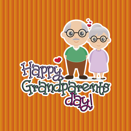a colored background with a pair of grandparents and text