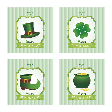 a set of colored backgrounds with text and traditional elements for patricks day