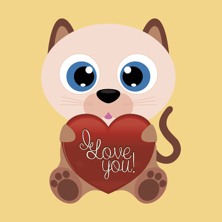 isolated animal: Isolated animal holding a heart with text for valentines day. Vector illustration