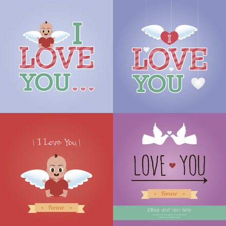 Set of colored backgrounds with elements for valentines day. Vector illustration Vector