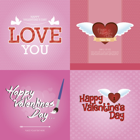 Set of backgrounds with text and hearts for valentines day. Vector illustration Vector