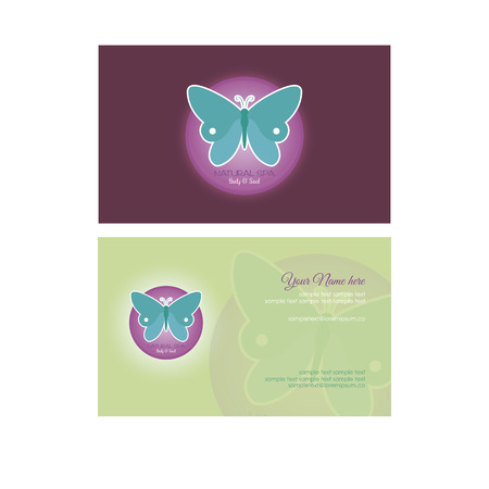 cosmetician: Pair of colored backgrounds with spa icons and text. Vector illustration Illustration