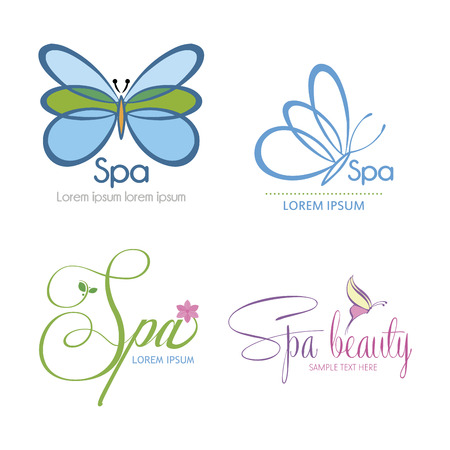 cosmetician: Set of backgrounds with text and spa icons. Vector illustration Illustration