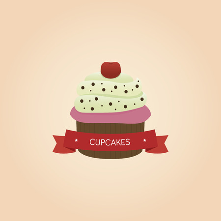 isolated: Isolated cupcake and text on a colored background. Vector illustration