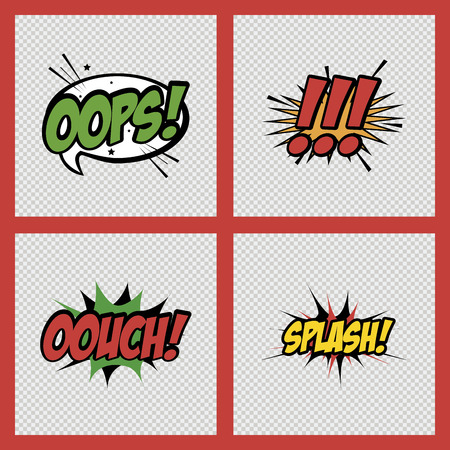 onomatopoeia: set of comic speech bubbles on textured backgrounds. Vector illustration