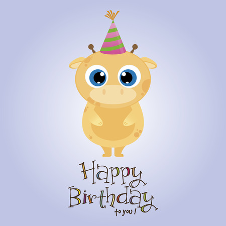 funny birthday: Colored background with an animal and ornaments for birthday party. Vector illustration