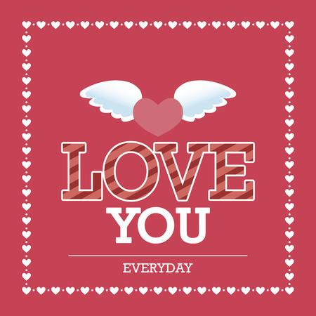 alas de angel: Fondo rosado con el texto y los corazones para el d�a de San Valent�n. Ilustraci�n vectorial