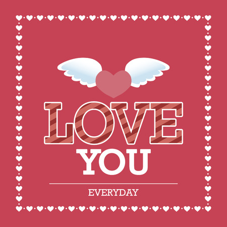 wings angel: Pink background with text and hearts for valentines day. Vector illustration