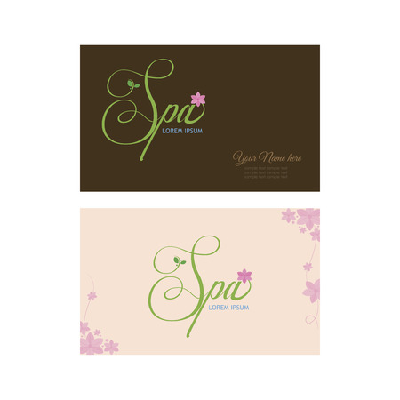 Pair of colored backgrounds with spa icons and text. Vector illustration Vector