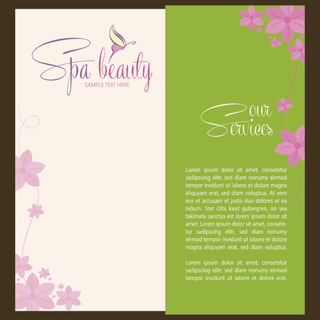 Colored background with text and spa icons. Vector illustration Vector