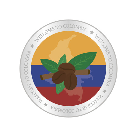 colombian flag: Isolated label with a colombian flag and a monument. Vector illustration