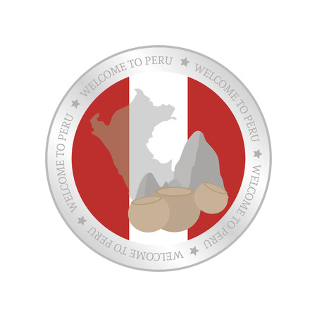 peruvian: Isolated label with a peruvian flag and a monument. Vector illustration
