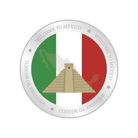 drapeau mexicain: �tiquette isol� avec un drapeau mexicain et un monument. Vector illustration