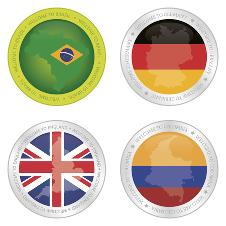 Set of labels with different flags. Vector illustration illustration