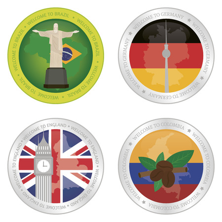 Set of labels with different flags and monuments. Vector illustration illustration