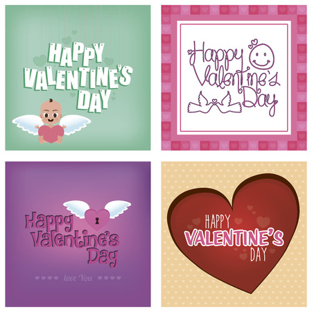 Set of backgrounds with text, hearts and elements. Vector illustration illustration