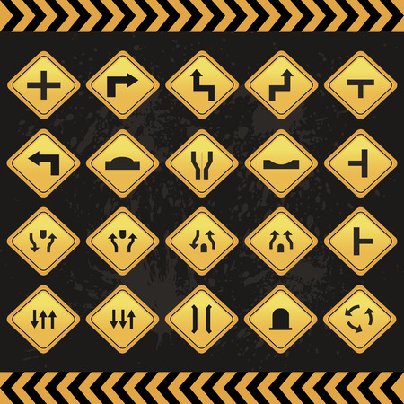 highway tunnels: Set of different transit signals on a grunge background. Vector illustration