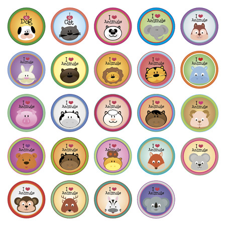 Set of round labels with text and animals. Vector illustration illustration