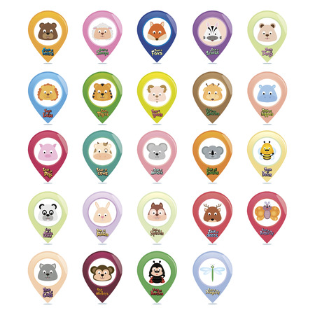 Set of animal pins with text. Vector illustration illustration