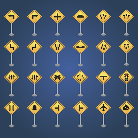 signal pole: Set of traffic signals on a blue background. Vector illustration Stock Photo