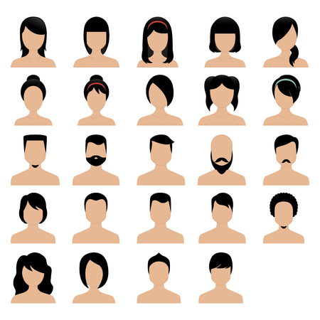 hair style collection: Set of people profiles with different hair styles. Vector illustration
